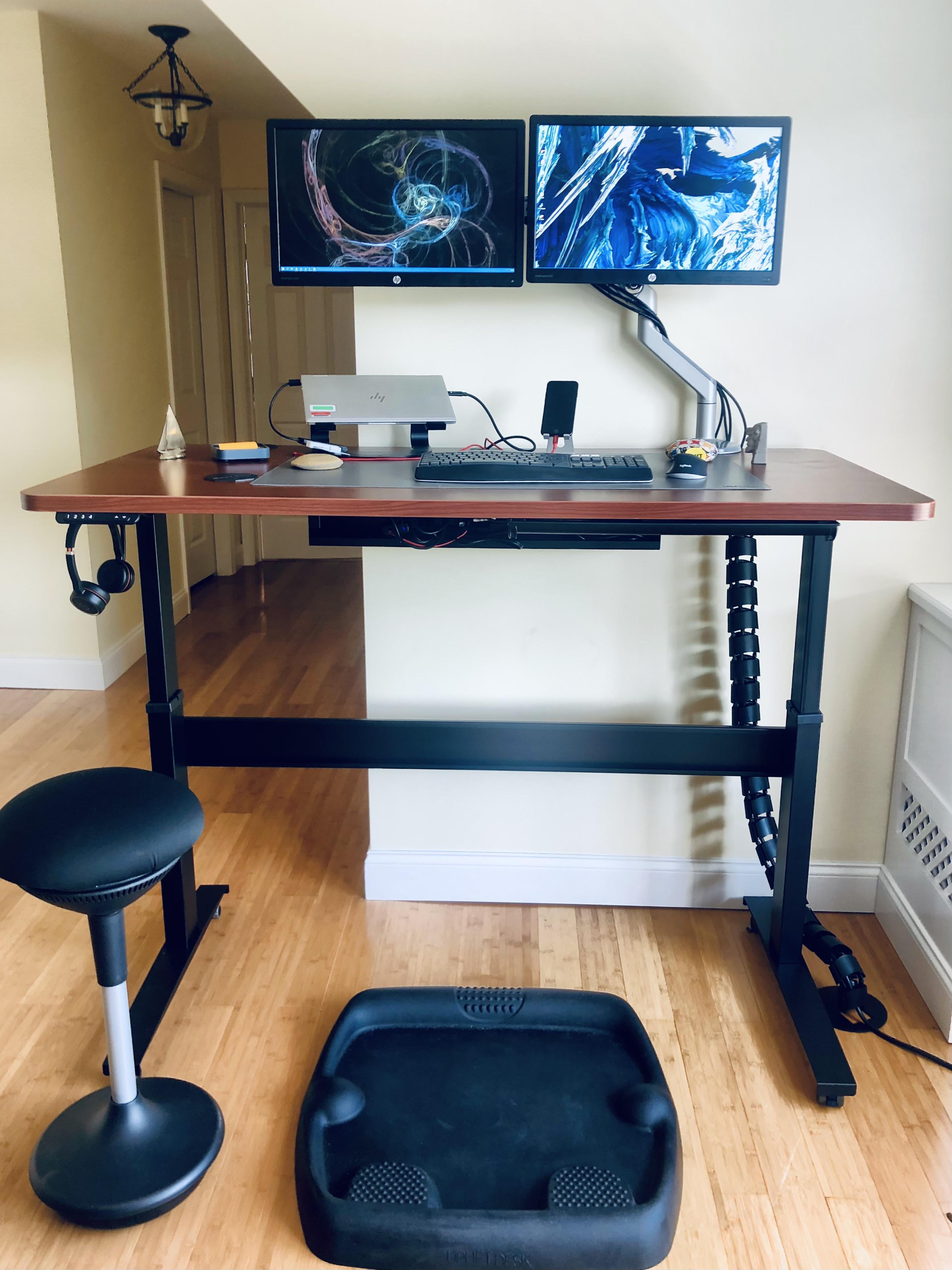"30"" x 60"" Cherry Rounded Corner Laminate Top with Black VertDesk v3 Adjustable Desk Frame"