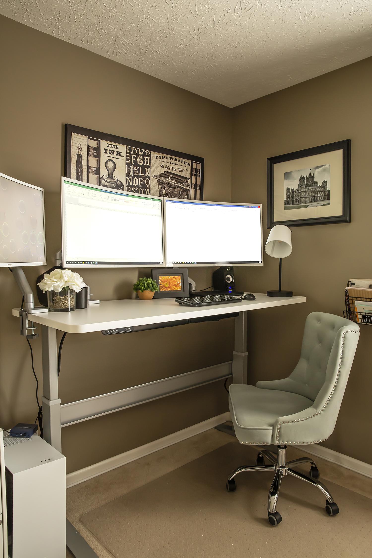 "27"" x 63"" Galaxy White Laminate Top with Silver VertDesk Adjustable Desk Frame"