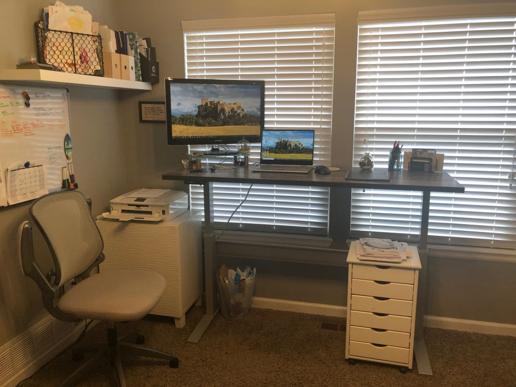"24"" x 65"" Reclamation Maple Laminate Top with Silver VertDesk Adjustable Desk Frame"
