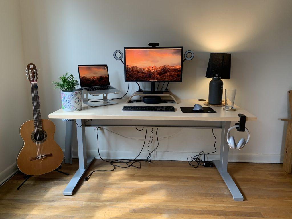 "30"" x 60"" Hardrock Maple Laminate Top with Silver VertDesk Standing Desk Frame"