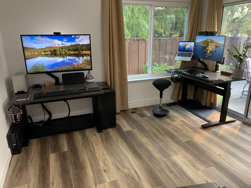"Two 30"" x 48"" Driftwood Laminate Top with Black VertDesk Standing Desk Frame"
