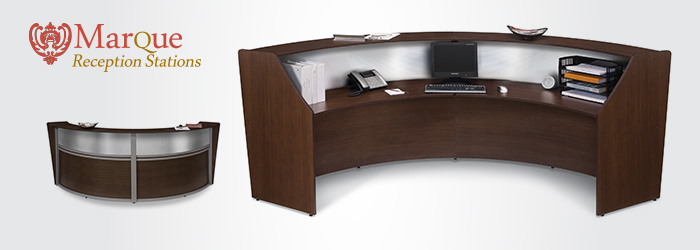 The Ofm Double Marque Plexi Reception Station With Silver Frame And 3 Wood Finish Options Can Provide Any Office Room An Ideal Area