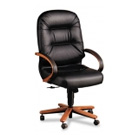 Wood Finish Leather Office Chairs