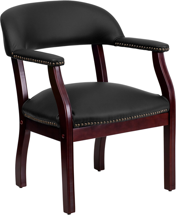 Leather Captain Side Chair with Nailhead Trim in Black Or Burgundy
