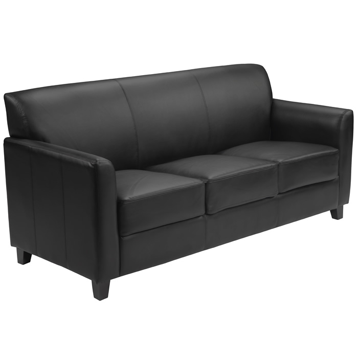 Black Leather Sofa Wood Feet Lobby Area