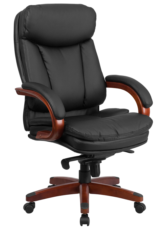 Merveilleux BTOD High Back Leather Office Chair   Mahogany Wood Base