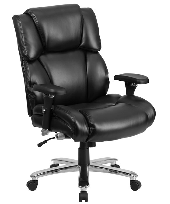"*New* BTOD Heavy Duty 24 Hour Leather Office Chair 400 lb. Rating 24"" Wide Seat"