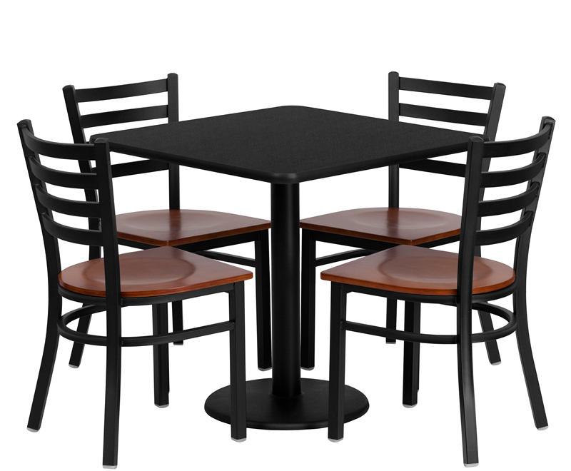 dining room table clipart black and white. BTOD 30  Square Top Dining Height Breakroom Table W 4 Ladder Back Metal Chairs Cherry Wood Seat