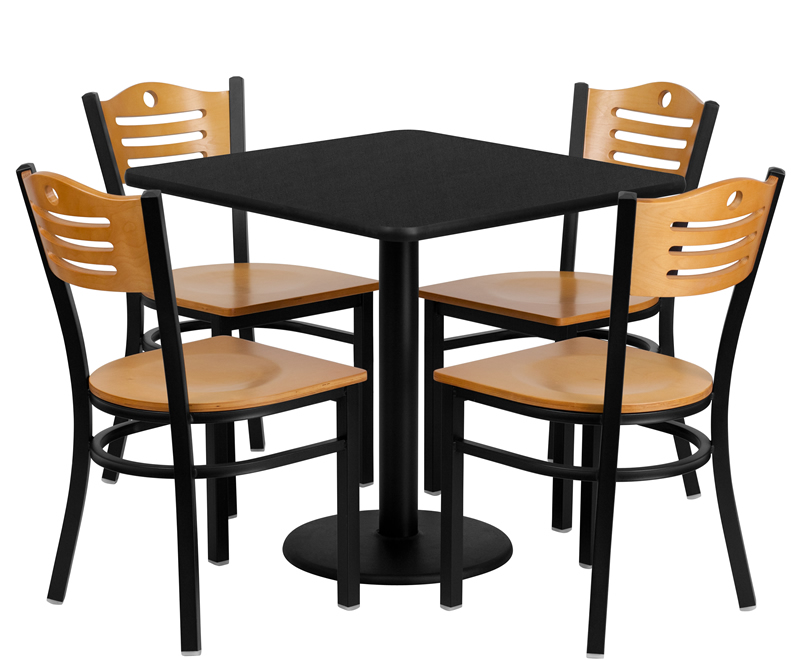 btod 30 square top breakroom table w chairs. Black Bedroom Furniture Sets. Home Design Ideas