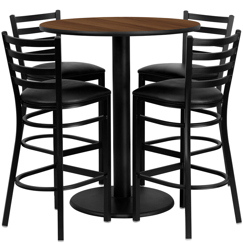 "Round Table With Stools: BTOD 36"" Round Top Bar Height Table W/ Vinyl Seat Stools"