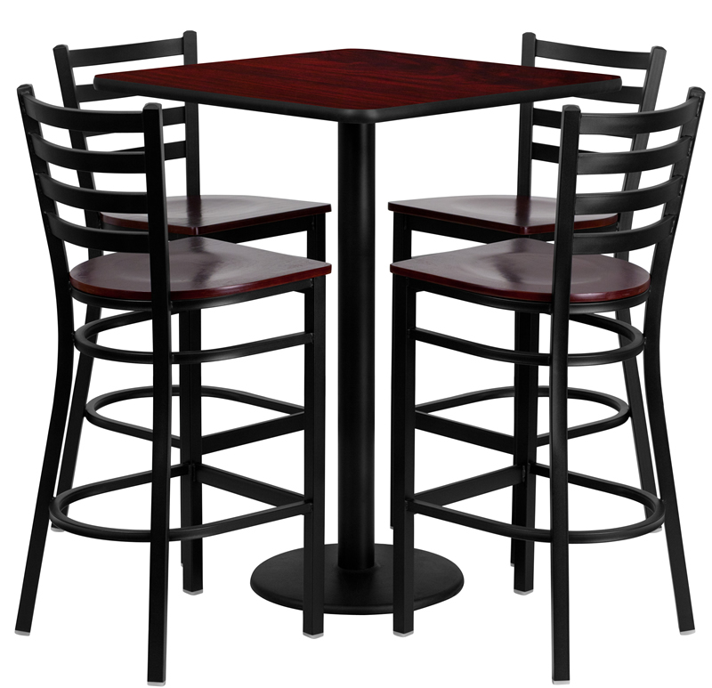 """BTOD 30"""" Square Top Bar Height Table w / Wood Seat Stools"""