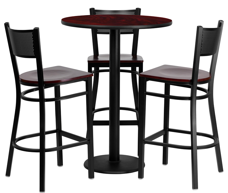 Stupendous Btod 30 Round Top Bar Height Table W Wood Seat Stools Machost Co Dining Chair Design Ideas Machostcouk