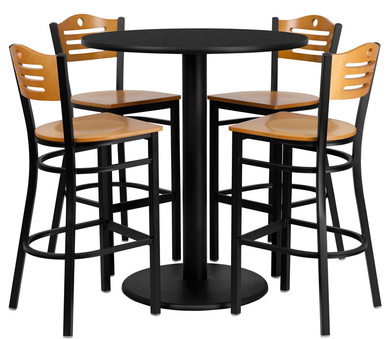 Btod 36 Round Top Bar Height Table W Wood Seat And Back Stools - What Size Stool For 36 High Table