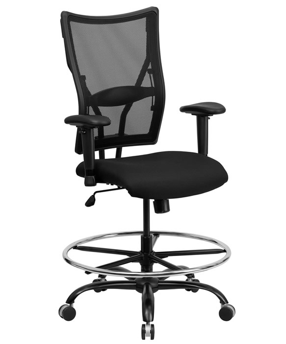 "BTOD Heavy Duty Mesh Back Drafting Stool Seat Height 20-26"" Rated For 400 lbs."