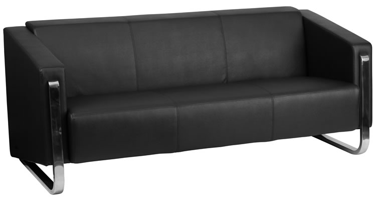 *New* BTOD Contemporary Black Leather Sofa Stainless Steel Frame