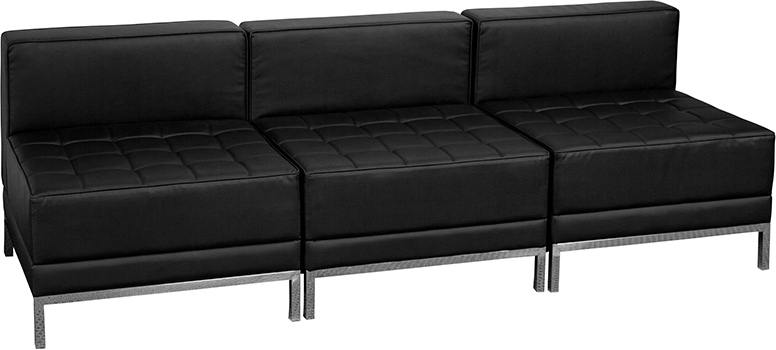 3 Seat Bench Black Leather
