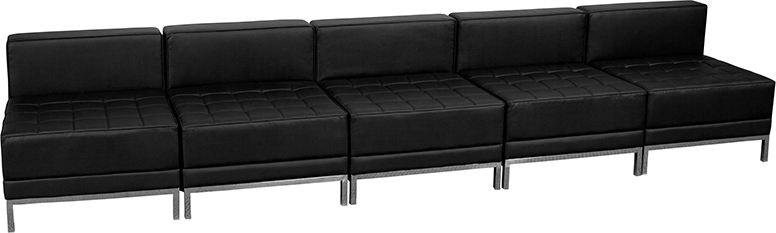 Five Seat Bench Black Leather Modern