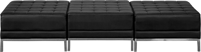 Modern Black Leather 3 Seat Bench