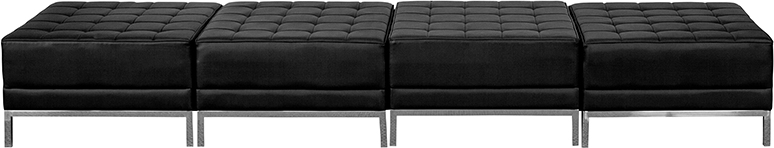 4 Seat Bench For Lobby Black Leather