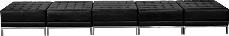 5 Seat Reception Bench Black Leather