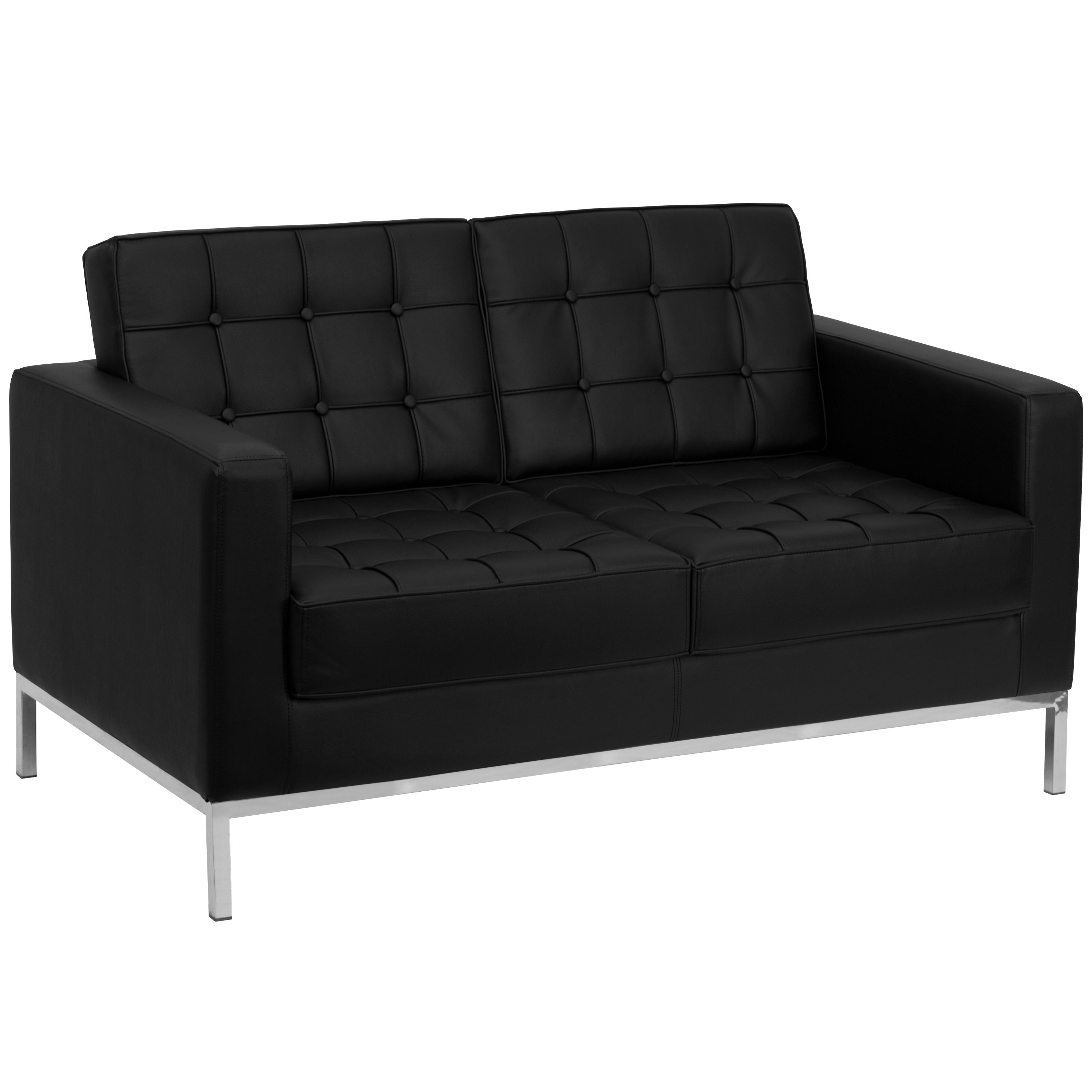 Modern Leather Reception Loveseat