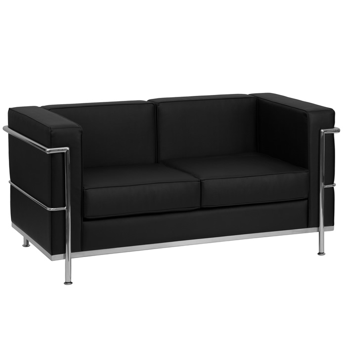 Chrome Base Modern Love Seat Black