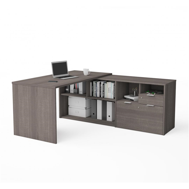 Bestar I3 Plus Bark Grey Melamine Finish L-Shaped Desk