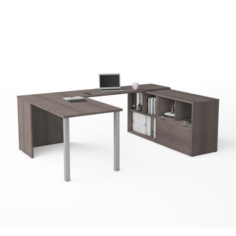 Bestar I3 Plus Northern Maple Melamine Finish U-Shaped Desk