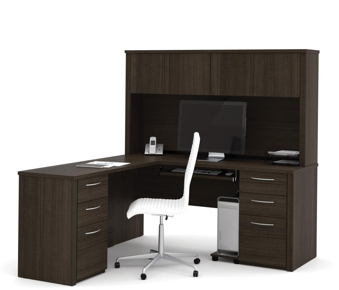 Bestar Emby L Shaped Office Desk With Hutch