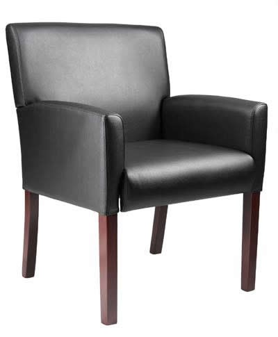 *New* Boss Upholstered Mid-Back Arm Chair Mahogany Finish