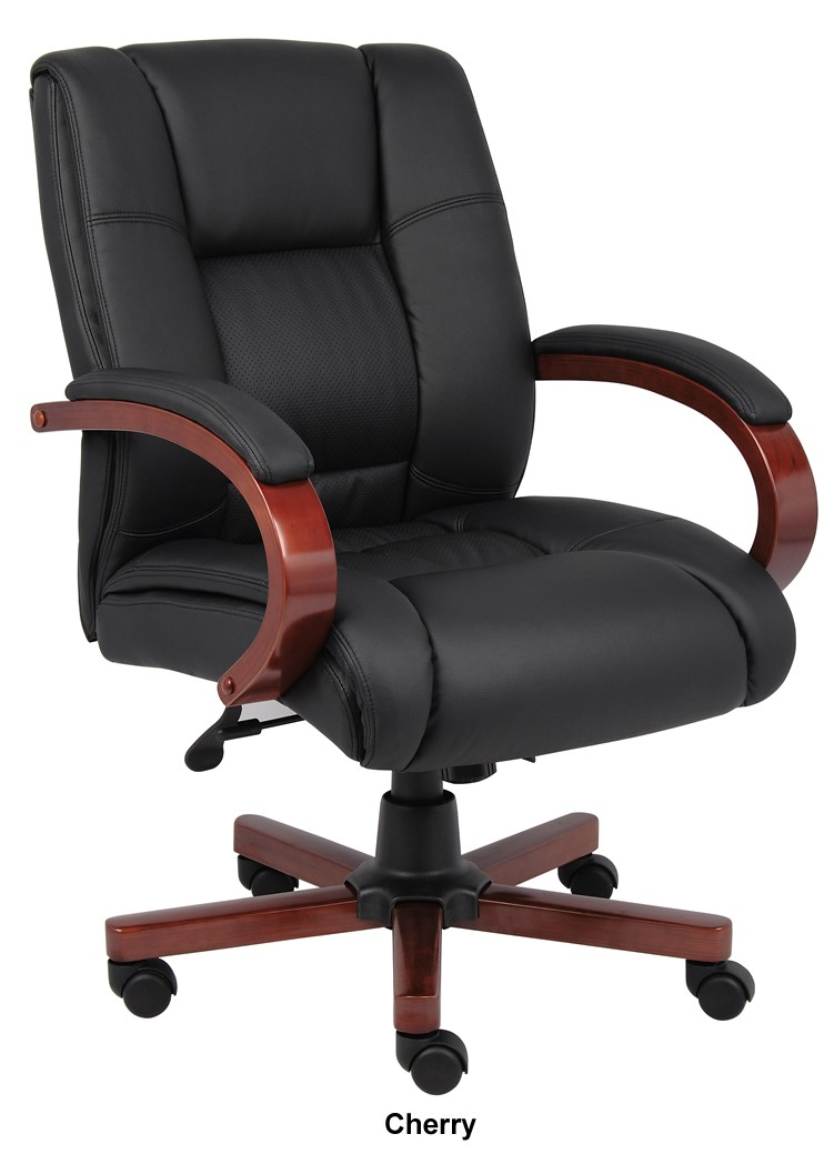 Boss CaressoftPlus Mid Back Conference Chair Wood Base Accents