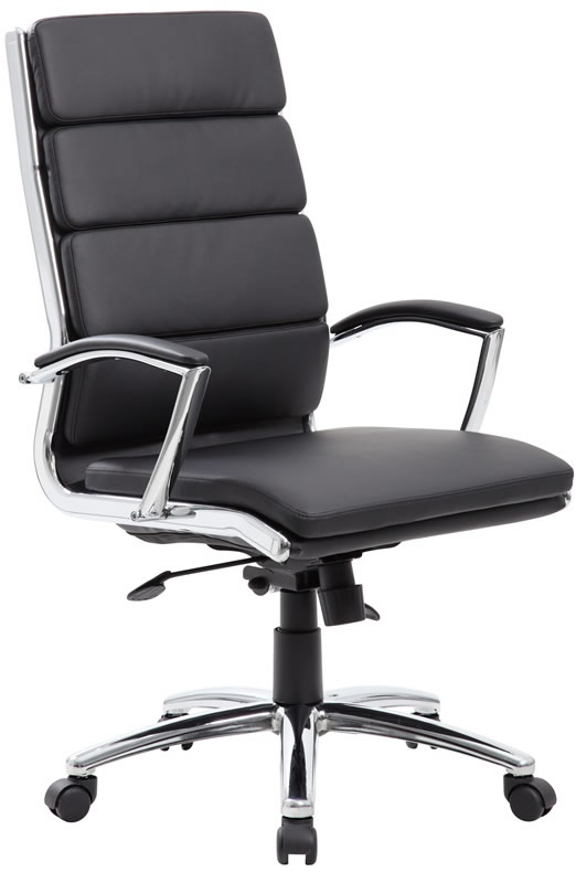 Boss modern leather office chair chrome base for Modern leather office chairs