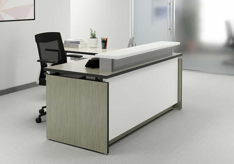 VertDesk Executive Series L Shape Sit to Stand Reception Desk