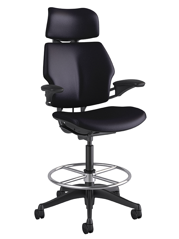 Custom Humanscale Freedom Drafting Stool in Leather