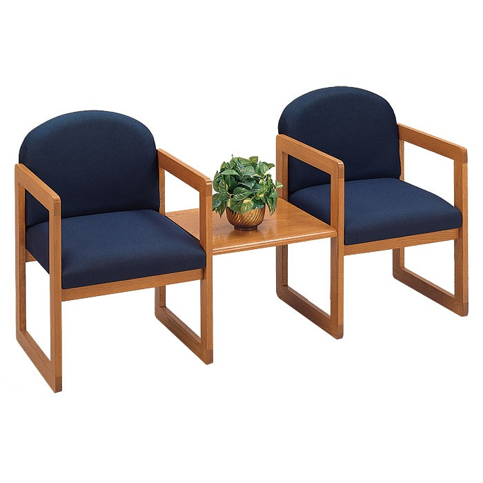 Lesro Classic Series 2 Round Back Chairs w/ Connecting Table