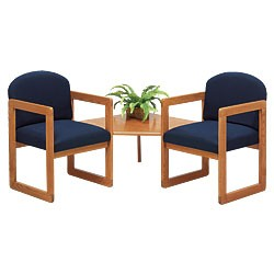 Lesro Classic Series 2 Round Back Chairs w/ Connecting Corner Table
