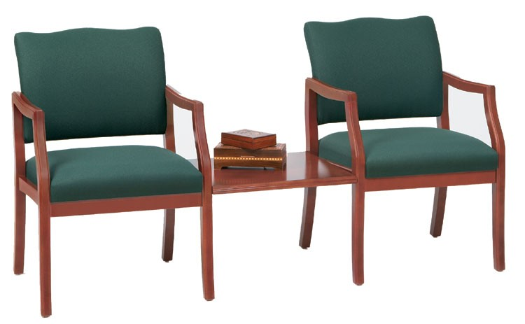 Lesro Franklin Series 2 Seat Guest Chair w/ Connecting Table