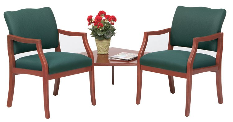 Lesro Franklin Series 2 Seat Guest Chair w/ Connecting Corner Table