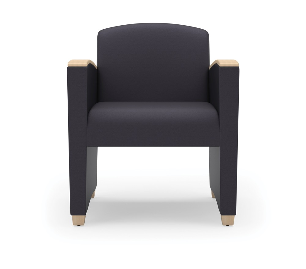 Lesro Savoy Series Reception Chair w/ Curved Wood Arms