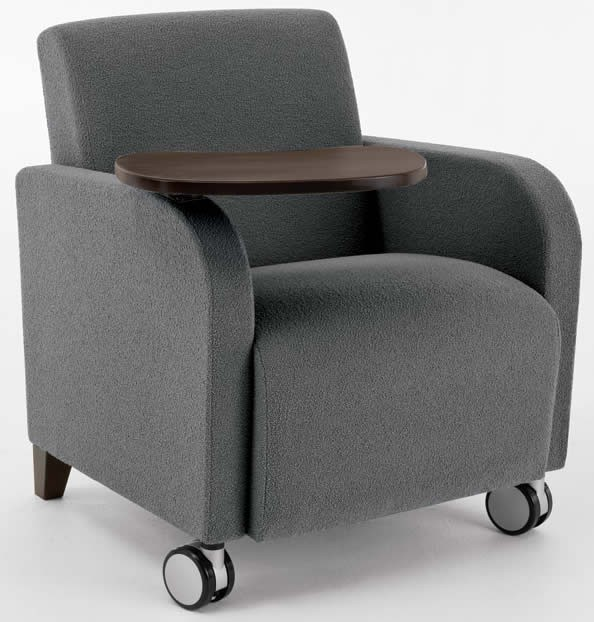 Lesro Siena Series Bariatric Guest Chair w/ Swivel Tablet And Casters 500 lbs. Capacity