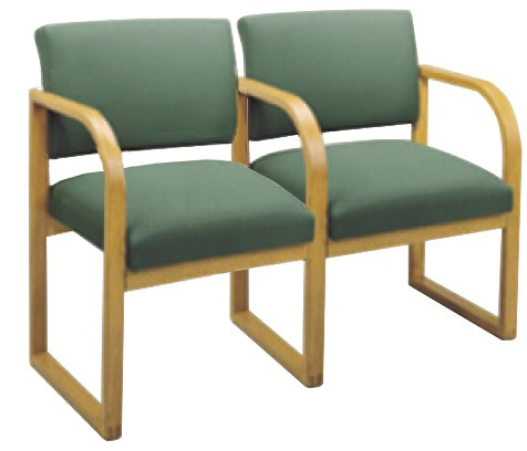 Lesro Contour Series Open Back 2 Seat Reception Chair w/ Center Arms