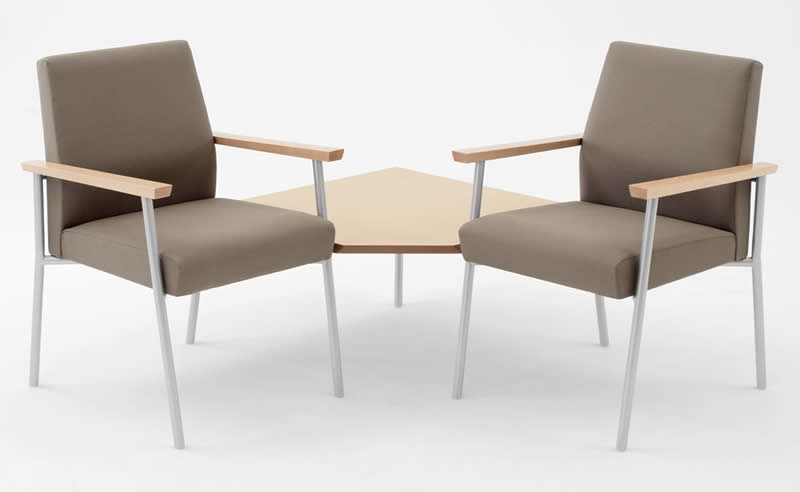 Lesro Mystic Series 2 Seat Reception Chair With Connecting Corner Table