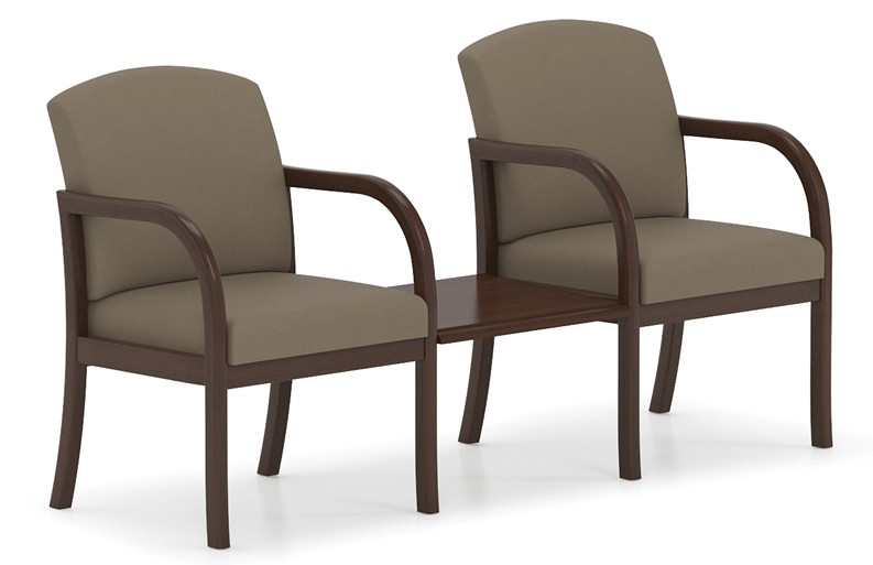 Lesro Weston Series 2 Seat Reception Chair w/ Connecting Center Table
