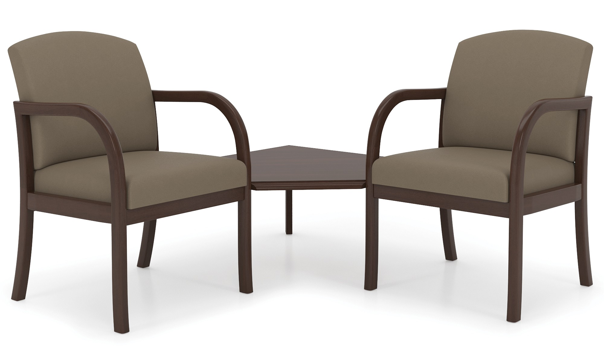 Lesro Weston Series 2 Seat Reception Chairs w/ Connecting Corner Table