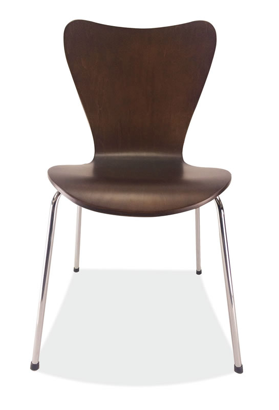 *New* Bleecker Street Café Wood Stack Chair w/ Chrome Base