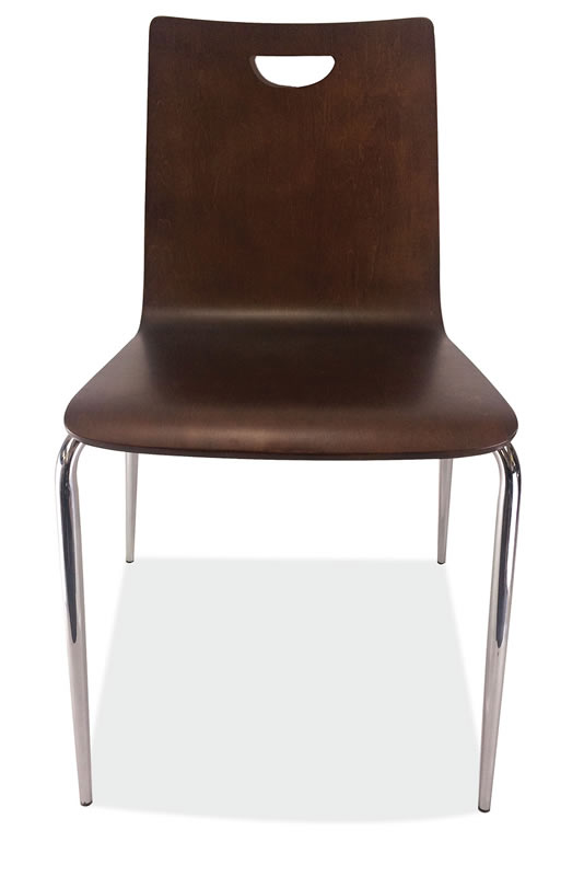 *New* Bleecker Street Café Wood Stack Chair, Hand Hole in Back w/Chrome Base