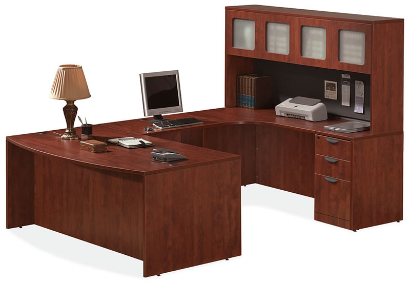 Os Laminate Series U Shaped Desk With Overhead Hutch