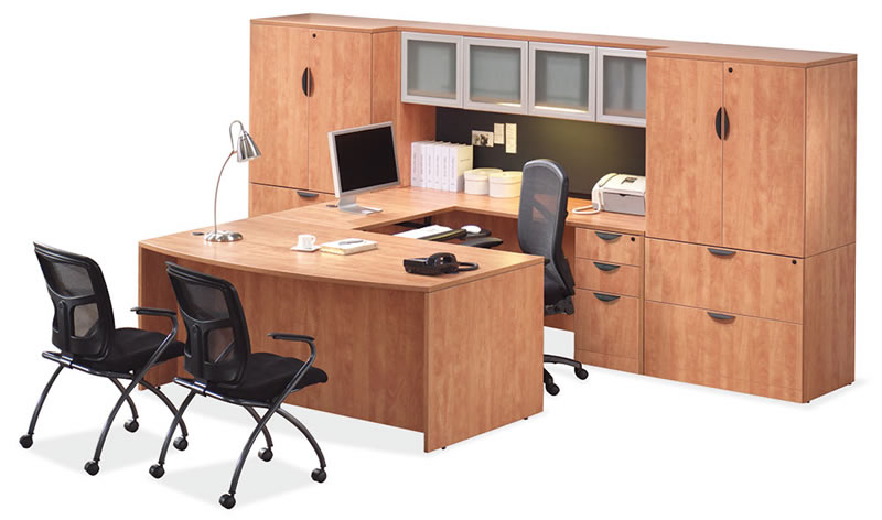 OS Laminate Series U Shaped Desk with Hutch, 2 Two Drawer Lateral File and 2 Storage Cabinets
