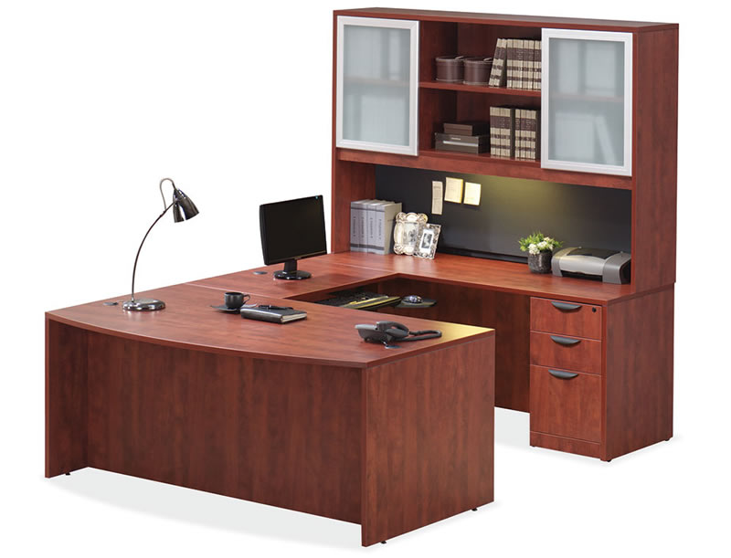 OS Laminate Series U Shaped Desk w/ Glass Doors for Hutch
