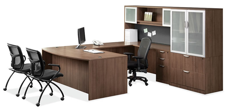 os laminate series u shaped desk with lateral file and glass door storage